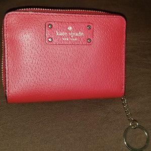 Red Kate Spade Card Wallet w/ Keyring